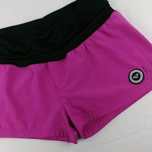 Roxy Foldover Athletic Swim Shorts Fuscia Patch